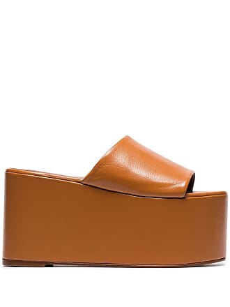 Simon Miller camel brown Blackout 110 leather flatform sandals - Marrom