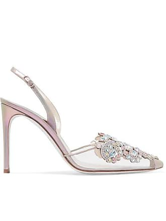 Rene Caovilla Veneziana Embellished Leather And Pvc Slingback Pumps - Silver