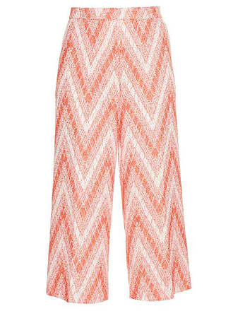 Rochas Chevron Woven Cropped Trousers - Womens - Red White