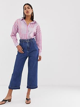 072b0c19b98705 Vero Moda Jeans cropped a vita alta con cintura e fondo ampio - Blu