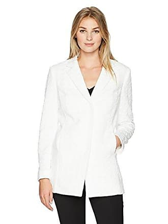 Kasper Womens Jacquard Solid Topper with Notch Collar, Ivory, 4