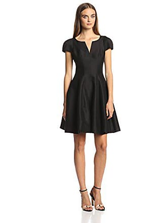 Halston Heritage Womens Short Sleeve Notch Neck Dress with Tulip Skirt, Black, 0