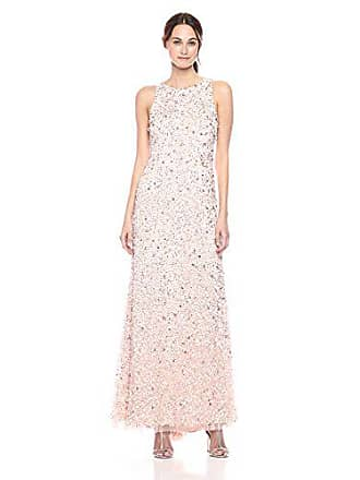 3e11714d Adrianna Papell Womens Halter Crunchy Beaded Gown, Blush, 12