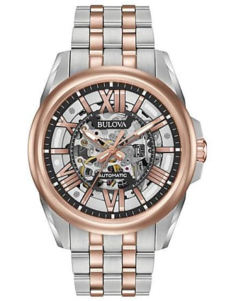 Zales Mens Bulova Automatic Two-Tone Watch with Black Skeleton Dial (Model: 98A166)