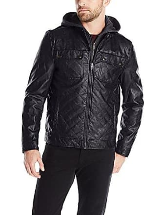 fa5e4f4a0bb Kenneth Cole Reaction Mens Quilted Faux-Leather Moto Jacket with Hood, Black,  X