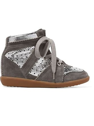 eb870c78a9aa Isabel Marant Bobby Perforated Metallic Leather And Suede Wedge Sneakers -  Silver