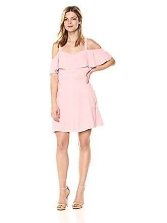J.O.A. JOA Womens Button UP Cold Shoulder FIT and Flare Dress, Peach, M