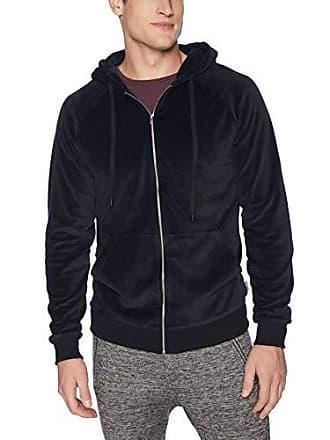 2(x)ist Mens Velour Zip-Up Hoodie Sweater, Black, Large