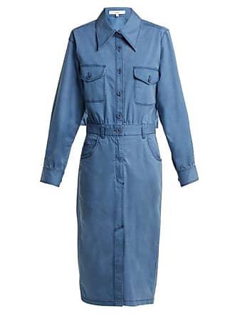 Tibi Utility Denim Midi Dress - Womens - Light Denim