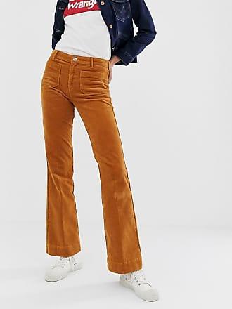 Wrangler Jeans a zampa in tessuto a coste a vita alta-Marrone