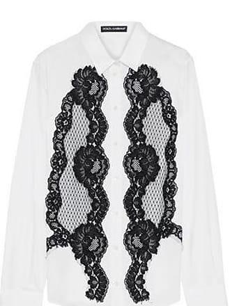 c341d4059d4599 Dolce   Gabbana Dolce   Gabbana Woman Lace-appliquéd Cotton-blend Poplin Shirt  White
