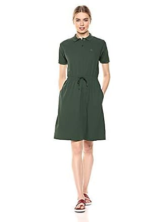 Lacoste Womens S/S Polo Dress W/Cinched Waist, Caper Bush, 2
