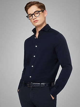 Boggi Milano slim fit navy blue casual shirt with open collar