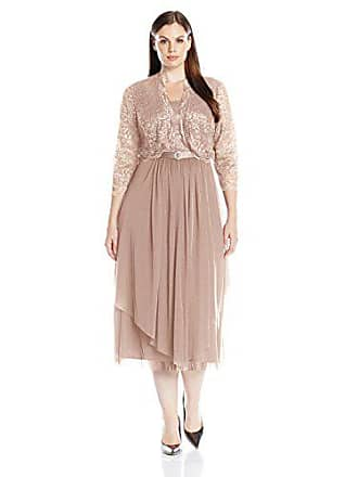 R&M Richards Womens 2 Piece Lace Hankie Collarless Jacket Dress Plus, Champagne, 16W