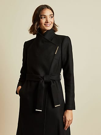Ted Baker Wool Wrap Coat in Black ROSE, Womens Clothing