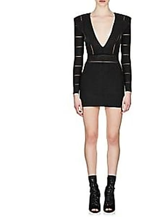 fd4730df022 Balmain Womens Metallic V-Neck Dress - Black Size 36 FR