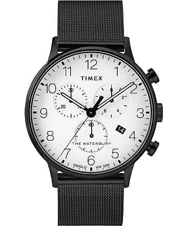 Timex Watch Mens Waterbury Classic Chronograph 40MM Stainless Steel Mesh Band Black/white Item Tw2T36800Vq