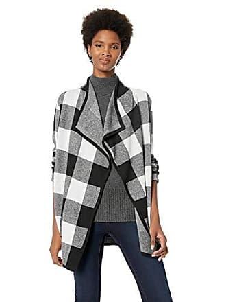 Jones New York Womens Plaid Cardigan, Black/Ivory S