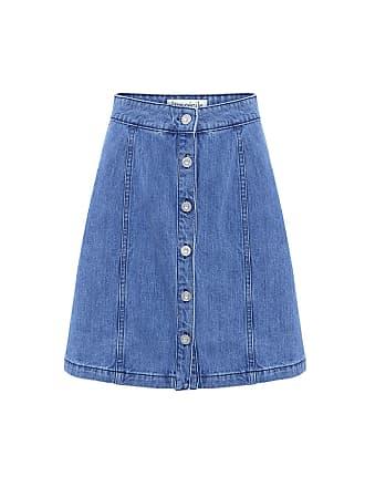 être cécile A-line Denim Skirt Light Blue