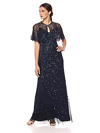 Adrianna Papell Womens Spaghetti Strap Long Dress with Beaded Capelet, Midnight 14