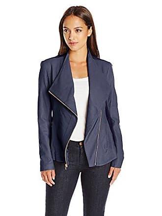 Via Spiga Womens Drape Front Leather Jacket, Navy, Medium