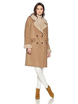 J.O.A. JOA Womens Full Shearling Coat, Camel, Medium