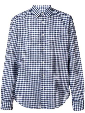 Brioni Camisa xadrez com abotoamento - Azul