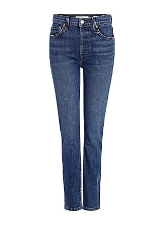 Re/Done High-rise Ankle Crop Skinny Jeans Blue
