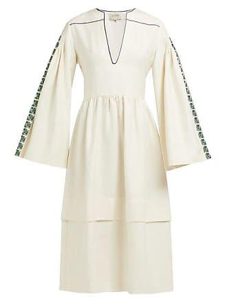 Zeus + Dione Astypalaia Slubbed Silk Midi Dress - Womens - Ivory Multi