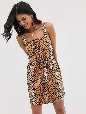 972dd00f6ed99 Asos Tall ASOS DESIGN Tall Exclusive mini square neck sundress with ruched  drawstring waist in leopard