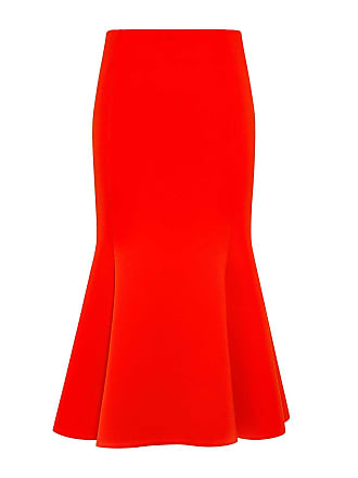 McQ by Alexander McQueen Mermaid Flared Midi Skirt Red