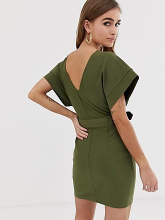 cb1429d3ea738f Asos Petite ASOS DESIGN Petite exclusive belted mini utility pencil dress -  Green