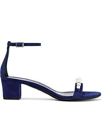 Lanvin Lanvin Woman Faux Pearl And Crystal-embellished Suede Sandals Royal Blue Size 37.5