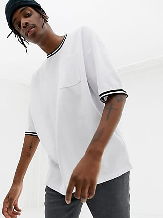 Asos Lång t-shirt i oversize-modell med ficka och kontrastfärgad kantrand -  Vit b66174c555945