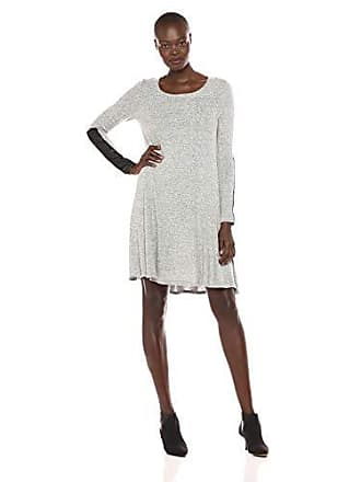 Karen Kane Womens Faux Leather Detail Dress, Gray, Medium