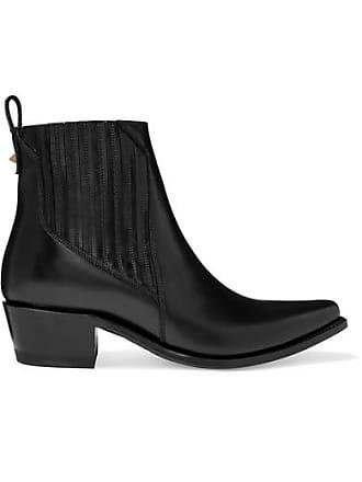 Valentino Valentino Garavani Ranch 40 Leather Ankle Boots - Black