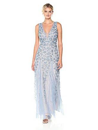Bcbgmaxazria BCBGMax Azria Womens Elina Knit Embellished Ruffle Gown, Shadow Blue, 6