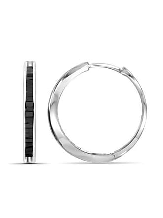 JewelersClub JewelersClub 1/4 Carat T.W. Black Diamond Sterling Silver Hoop Earrings