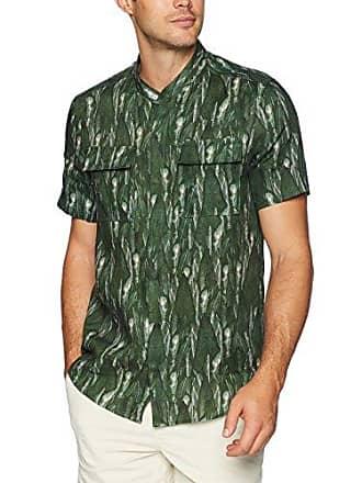 2(x)ist Mens Graphic Short Sleeve Button Down Shirt Shirt, Jungle Leaf-Duck, Medium