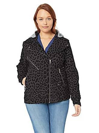 Yoki Womens Plus Size Leopard Print Short Wool Jacket, Charcoal, 1X