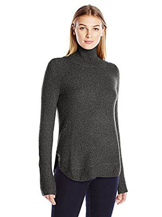 Lark & Ro Womens Rounded Hem Funnel Neck Sweater, Charcoal, X-Large