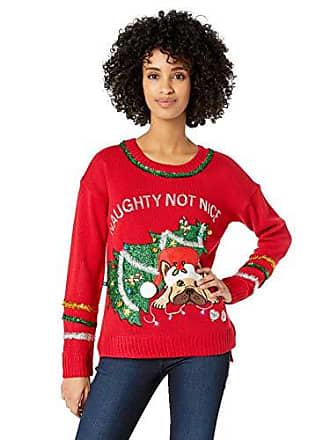 Blizzard Bay Womens Long Sleeve Crew Neck Naughty Not Nice Christmas Sweater, red, Medium