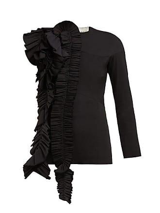 A.W.A.K.E. A.w.a.k.e. Mode - Ruffled Asymmetric Wool Blend Top - Womens - Black