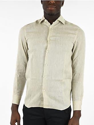 Ermenegildo Zegna camicia in lino a manica lunga collo italiano taglia S