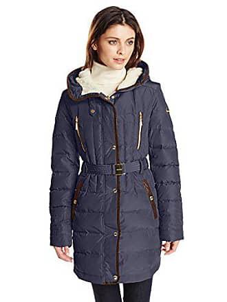 Kensie Kensie Womens Belted Down Coat with Faux Fur Lined Hood, Indigo, X-Large