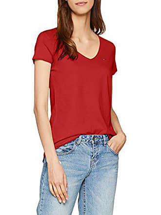 9eacb84056688 Tommy Jeans Damen Soft Jersey V-Neck Kurzarm Top Top Rot (Samba 602)