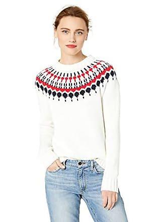 J.crew Womens Fair Isle Crewneck Sweater, Ivory/red Navy, L