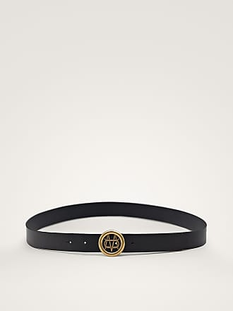 MASSIMO DUTTI BLACK NAPPA LEATHER BELT WITH LOGO