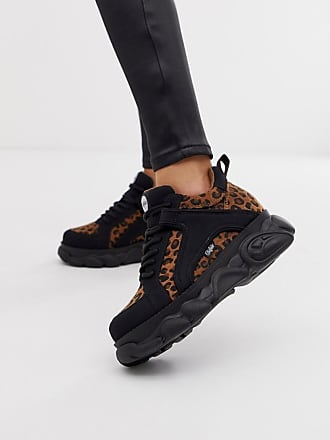 Buffalo Colby exclusive low platform chunky sneakers in leopard - Multi