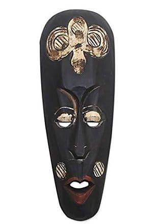 Novica Cultural Wood Mask, Black Rinjani Ancestor
